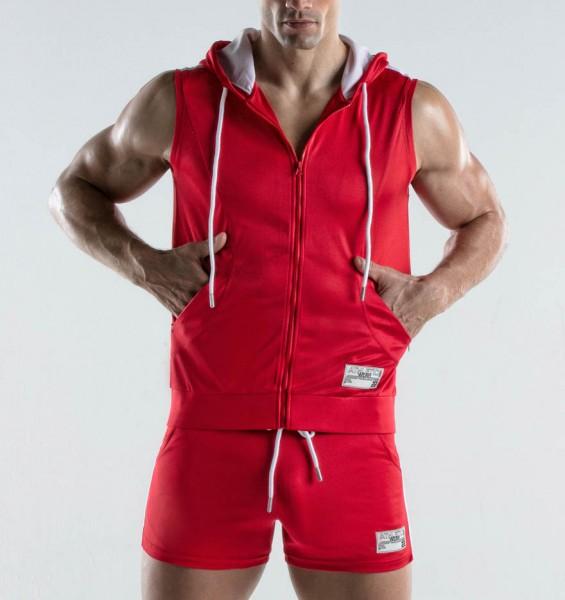 ärmelloser Zip Hoodie in knalligem rot aus der Code 22 Impulse Sportswear Kollektion
